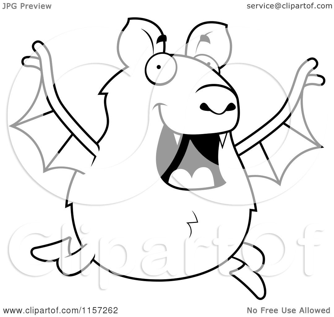 Cartoon Clipart Of A Black And White Chubby Bat Running
