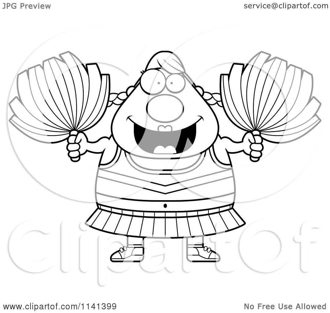 Cartoon Clipart Of A Black And White Chubby Cheerleader