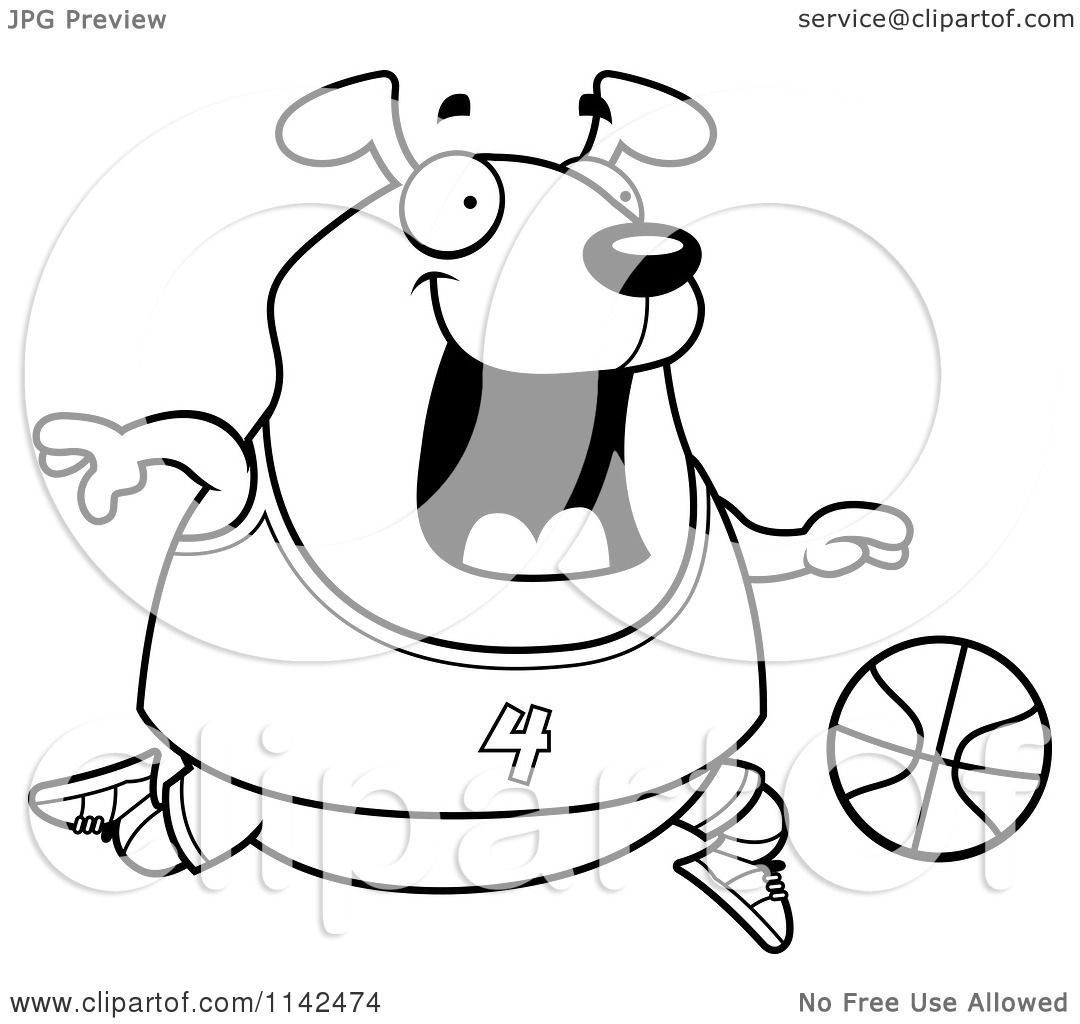 Cartoon Clipart Of A Black And White Chubby Dog Playing Basketball