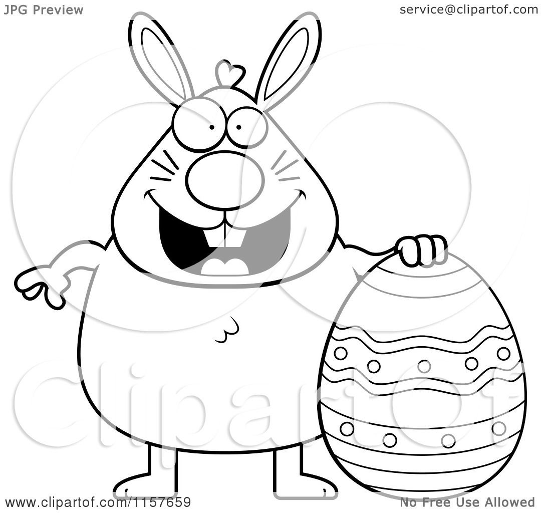 Cartoon Clipart Of A Black And White Chubby Easter Rabbit