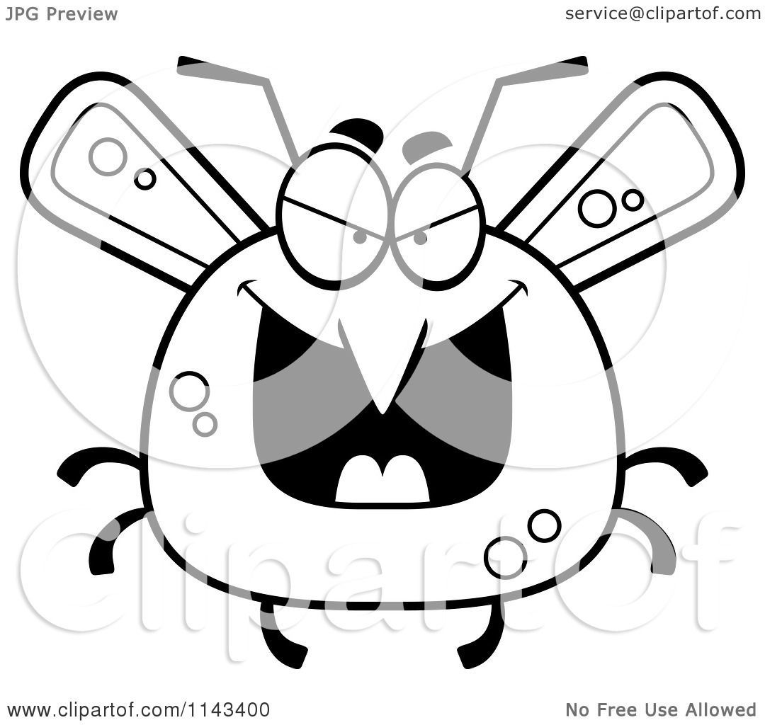 Cartoon Clipart Of A Black And White Chubby Evil Mosquito