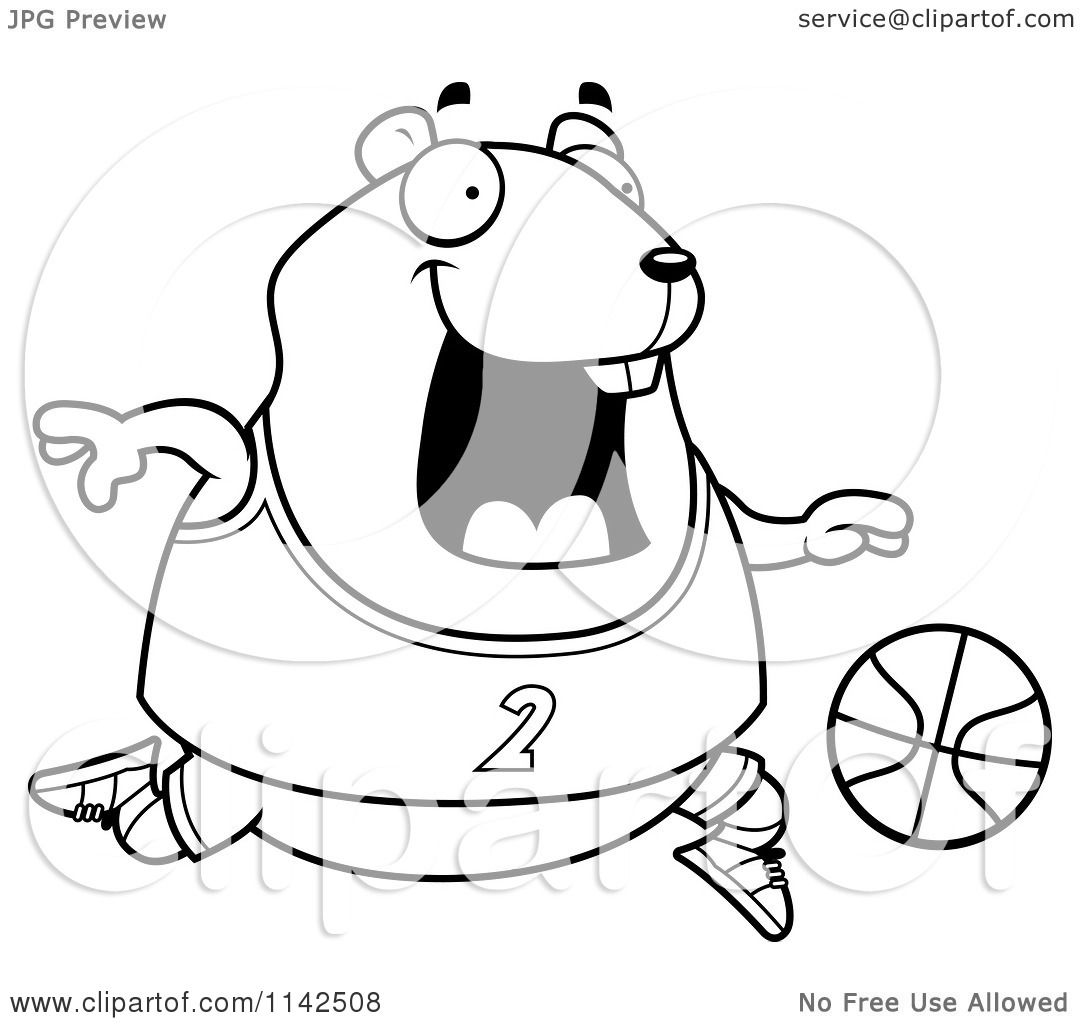 Cartoon Clipart Of A Black And White Chubby Hamster Playing Basketball