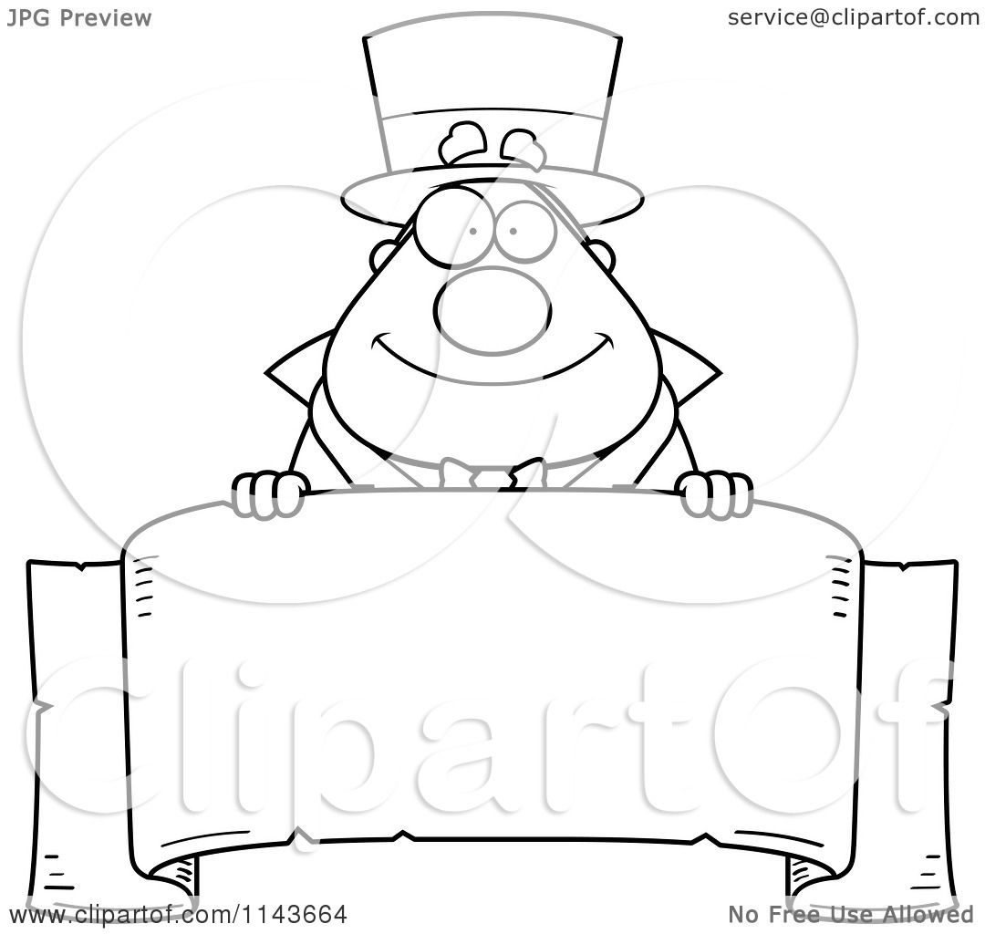 Cartoon Clipart Of A Black And White Chubby Magician Over