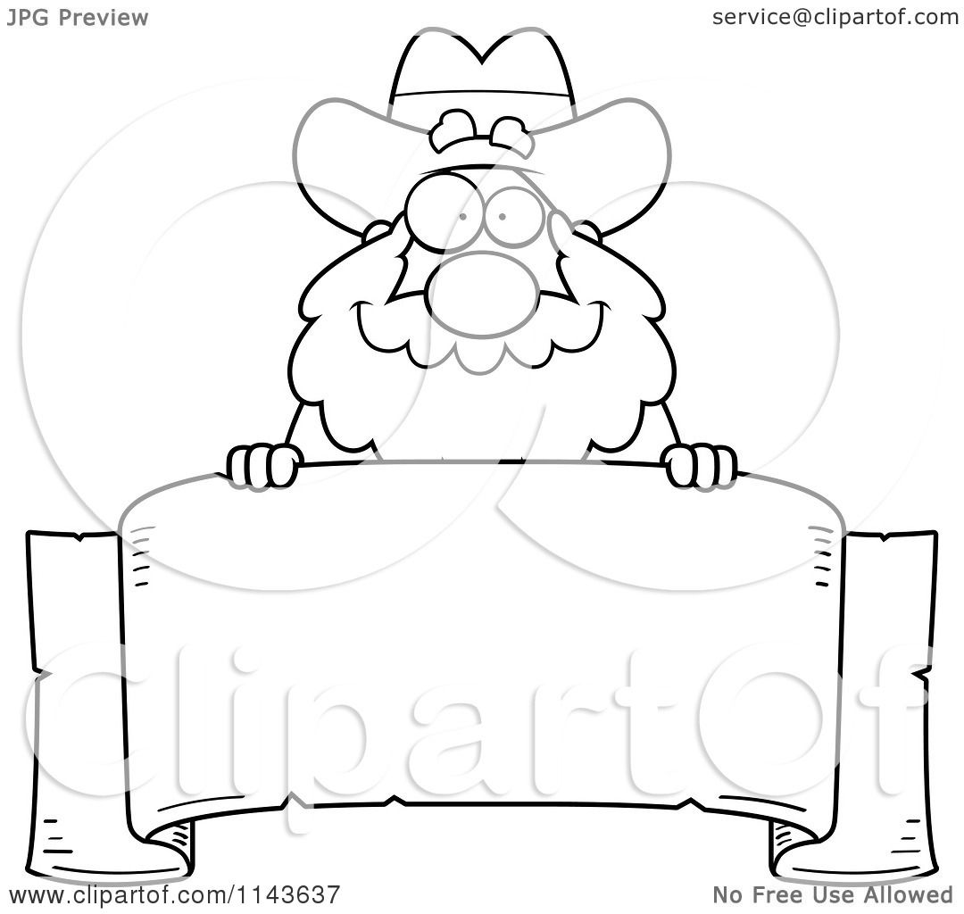 Cartoon Clipart Of A Black And White Chubby Miner