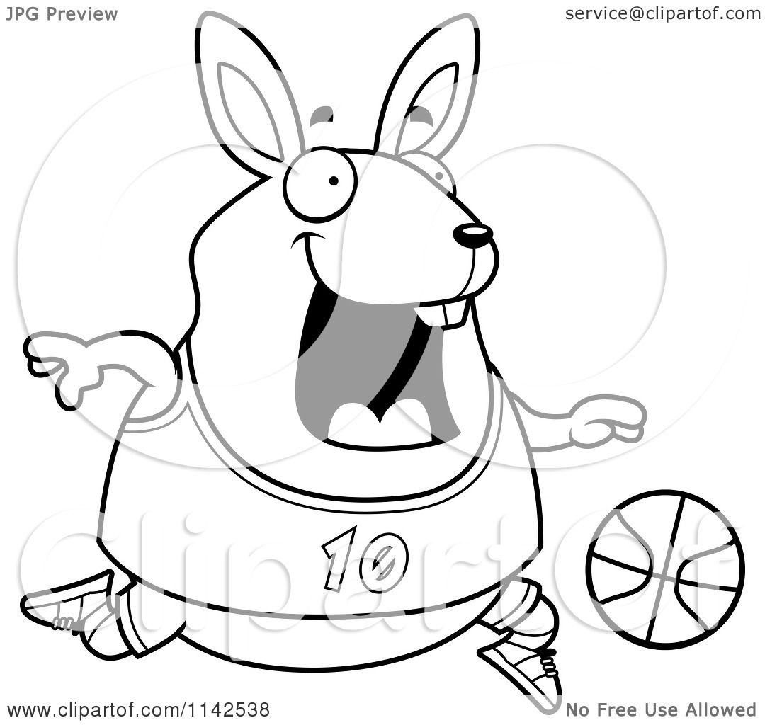 Cartoon Clipart Of A Black And White Chubby Rabbit Playing Basketball