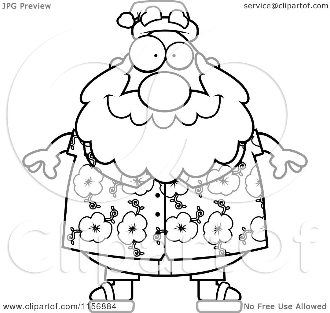Cartoon Clipart Of A Black And White Chubby Santa In A