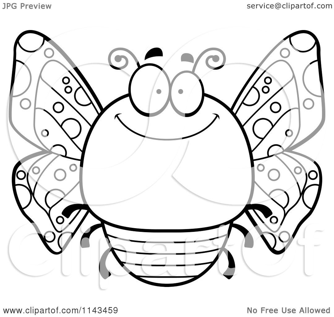 Cartoon Clipart Of A Black And White Chubby Smiling Butterfly