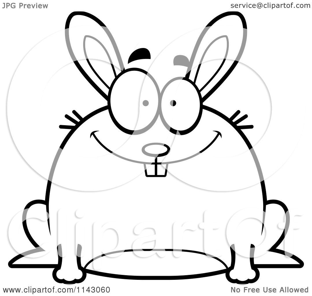 Cartoon Clipart Of A Black And White Chubby Smiling Rabbit