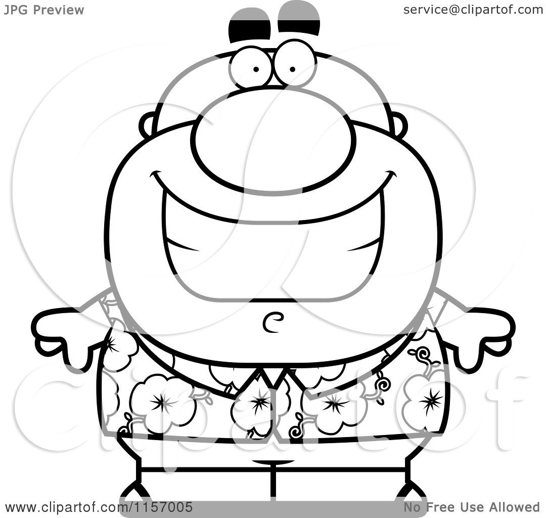 Cartoon Clipart Of A Black And White Chubby Tourist