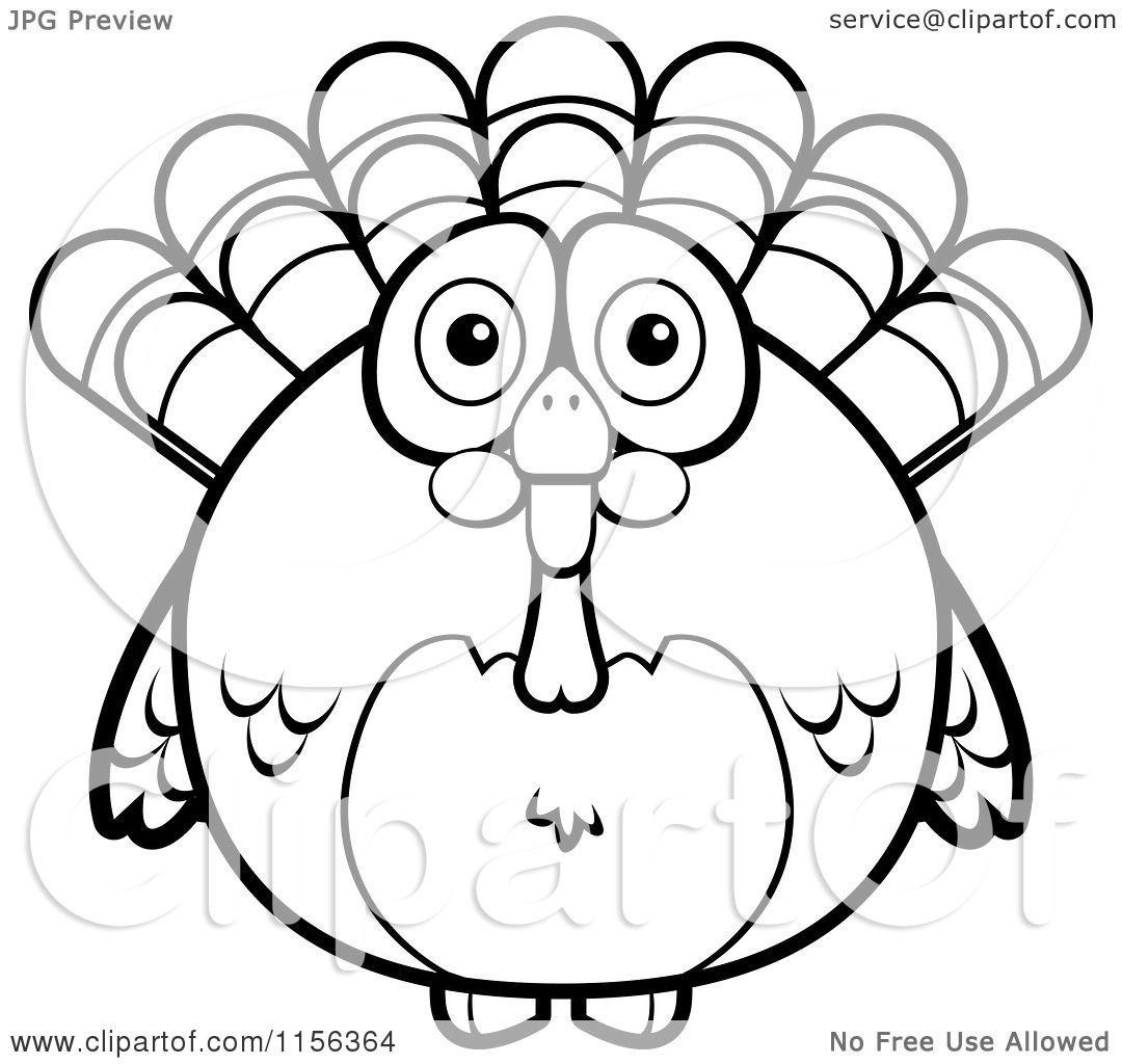 Cartoon Clipart Of A Black And White Chubby Turkey Bird