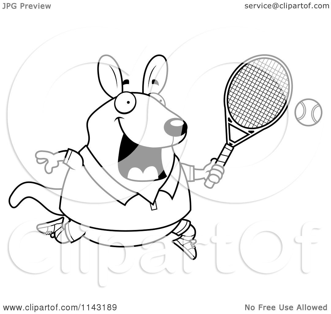 Cartoon Clipart Of A Black And White Chubby Wallaby Kangaroo Playing Tennis