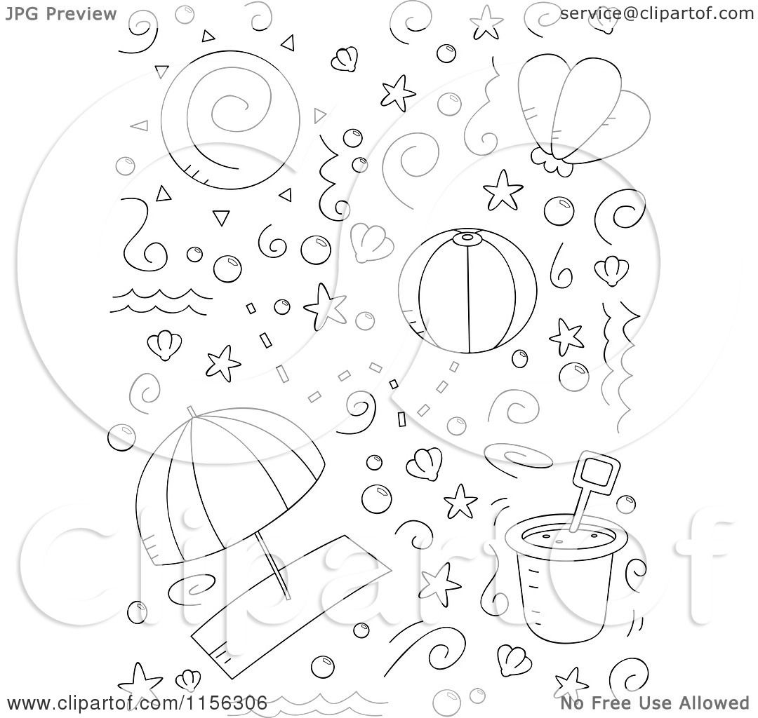 Cartoon Clipart Of A Black And White Collage Of Beach