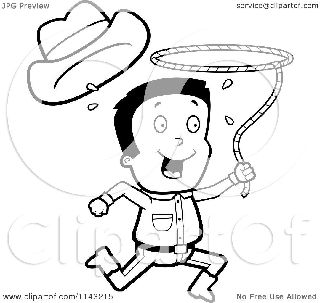 Cartoon Clipart Of A Black And White Cowboy Losing His Hat