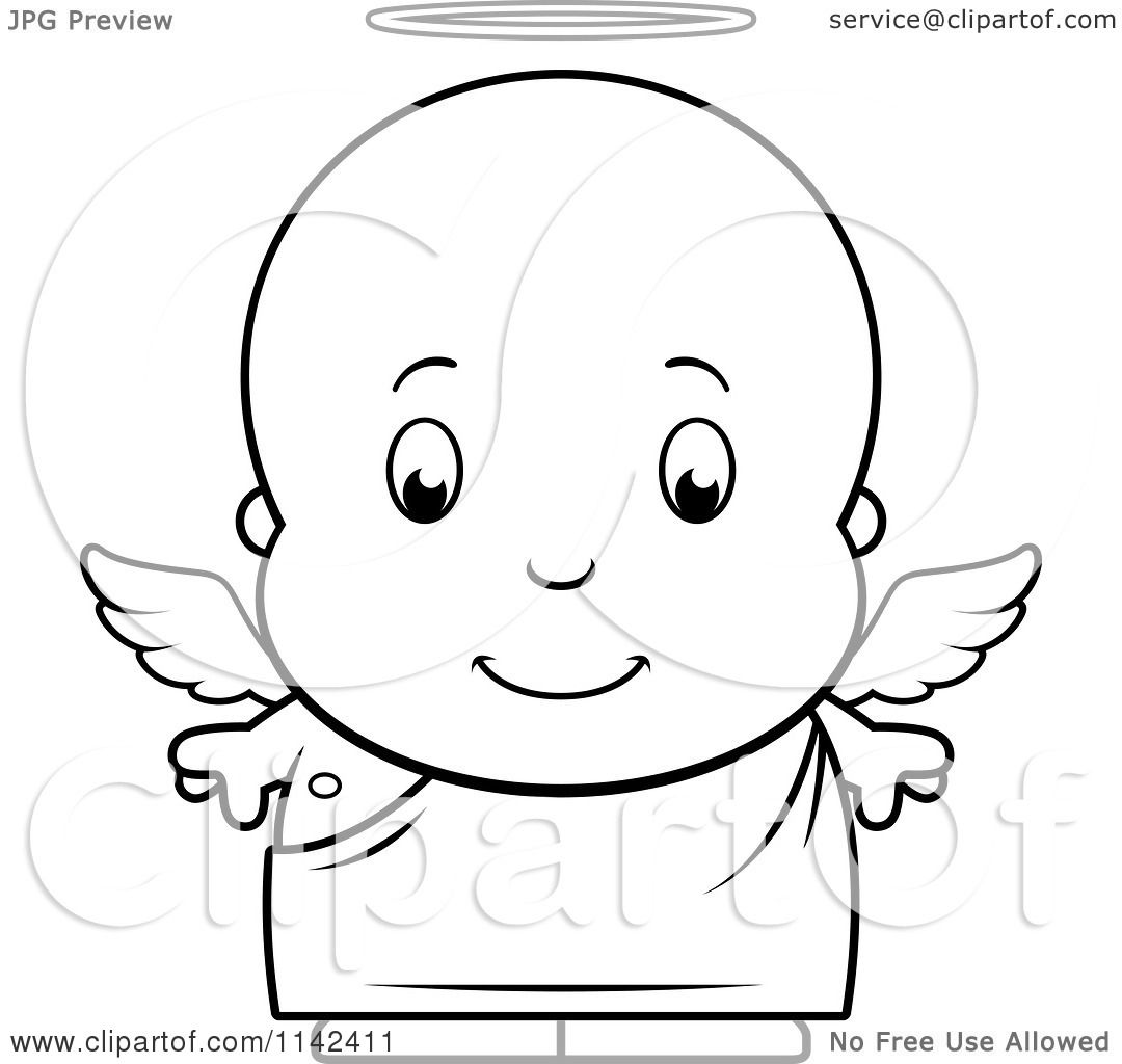Cartoon Clipart Of A Black And White Cute Baby Boy Angel