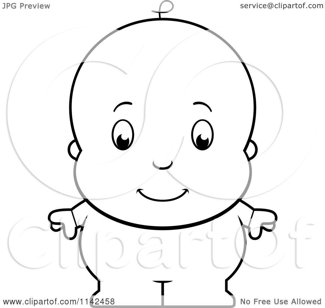 Cartoon Clipart Of A Black And White Cute Baby Boy In Blue Pjs