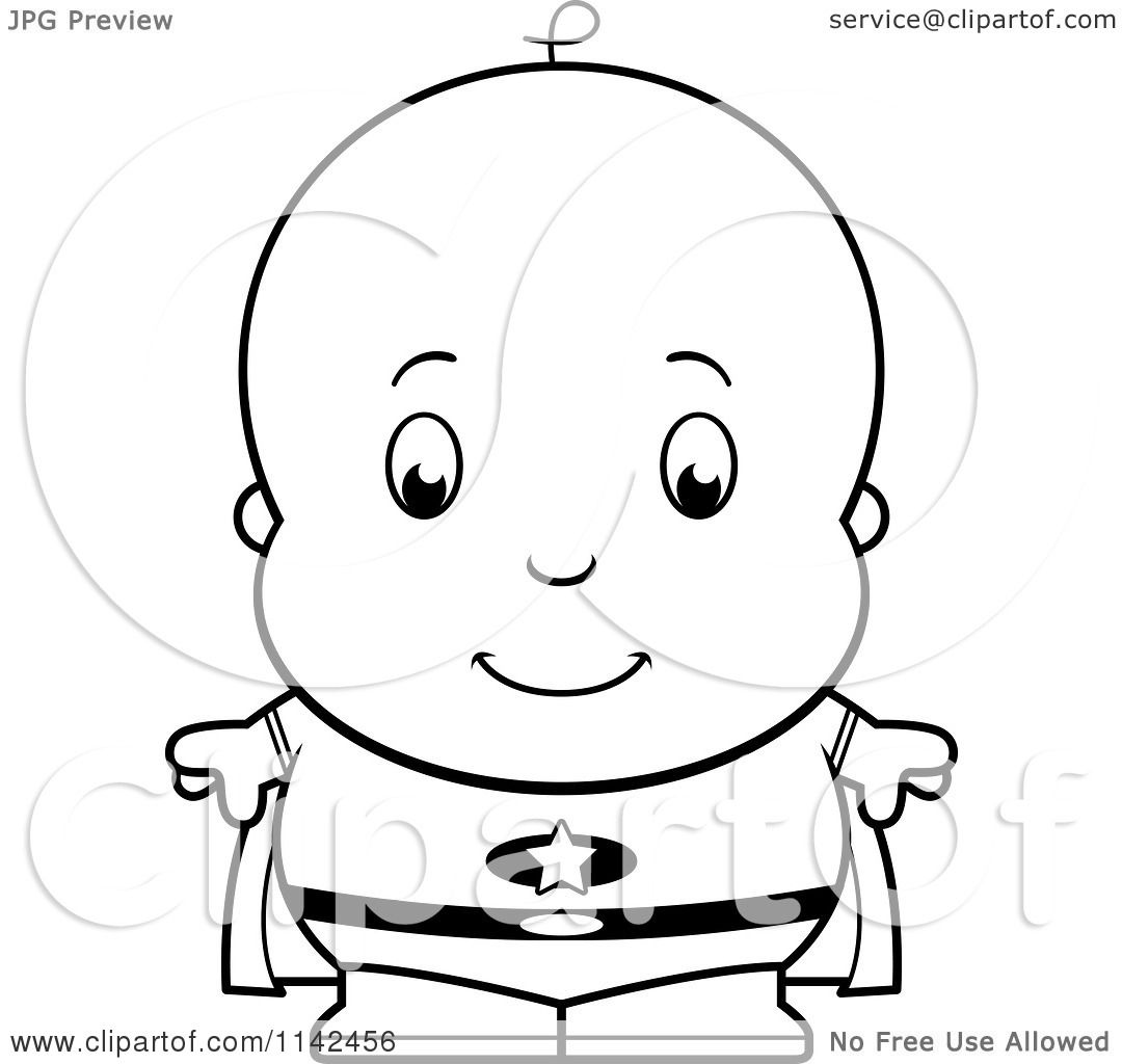 Cartoon Clipart Of A Black And White Cute Baby Boy Super