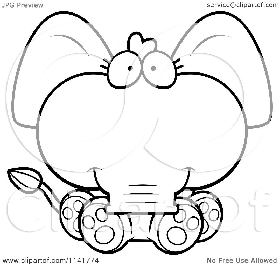 Cartoon Clipart Of A Black And White Cute Baby Elephant Sitting
