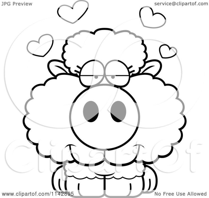cartoon clipart of a black and white cute baby sheep in