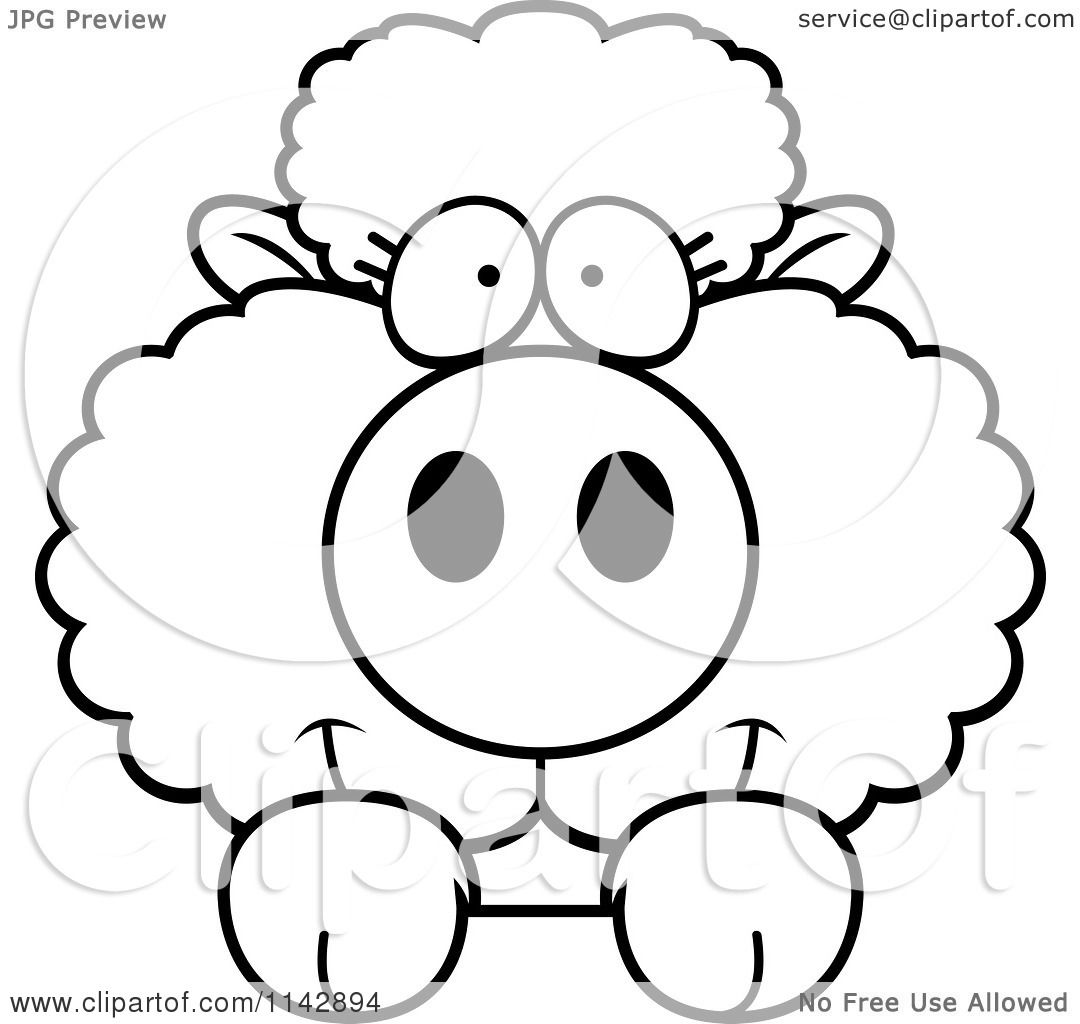 Cartoon Clipart Of A Black And White Cute Baby Sheep Looking Over A Surface