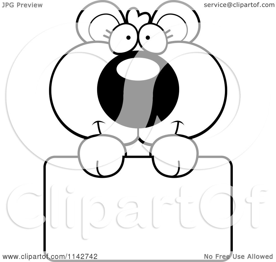 Cartoon Clipart Of A Black And White Cute Bear Cub Holding