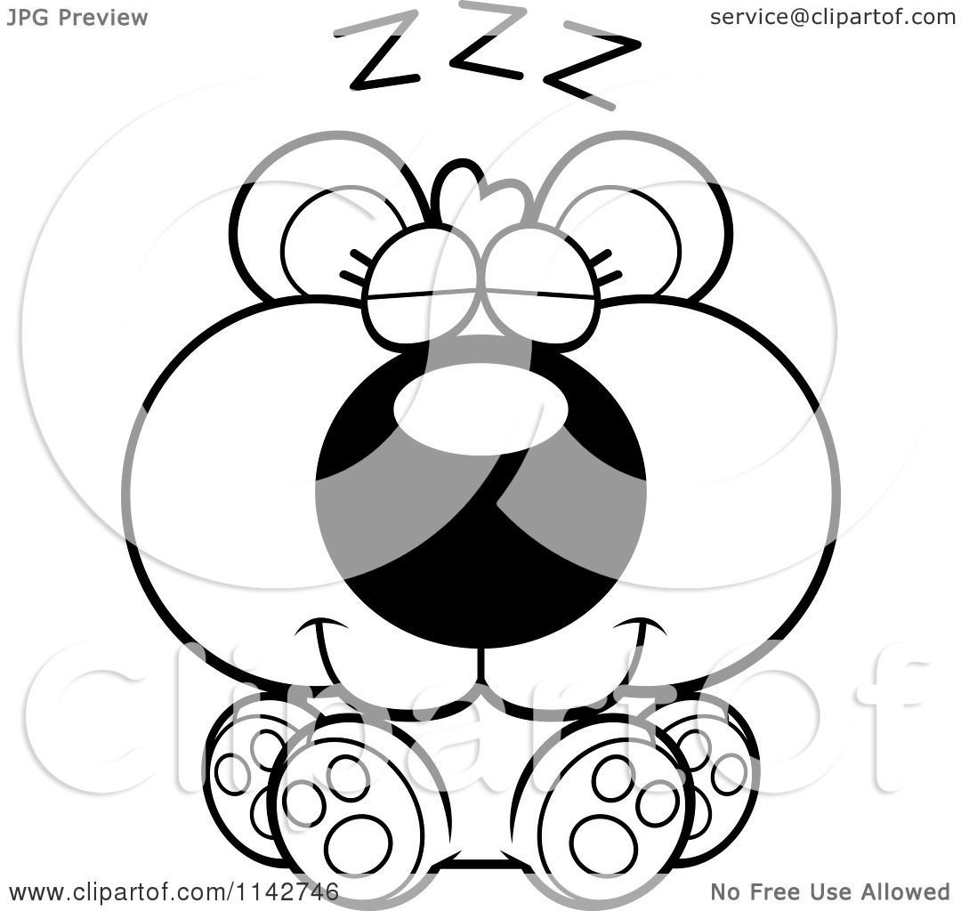 Cartoon Clipart Of A Black And White Cute Bear Cub