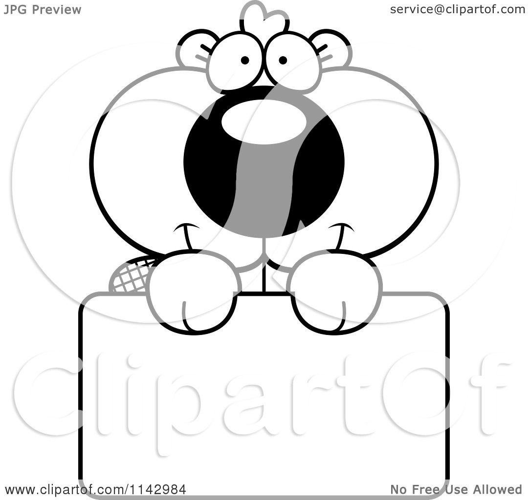 Cartoon Clipart Of A Black And White Cute Beaver Holding A