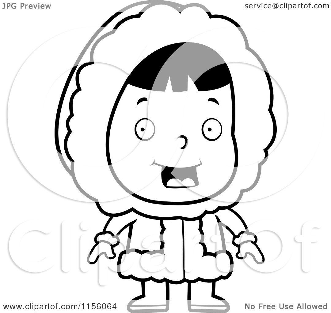 Cartoon Clipart Of A Black And White Cute Eskimo Girl