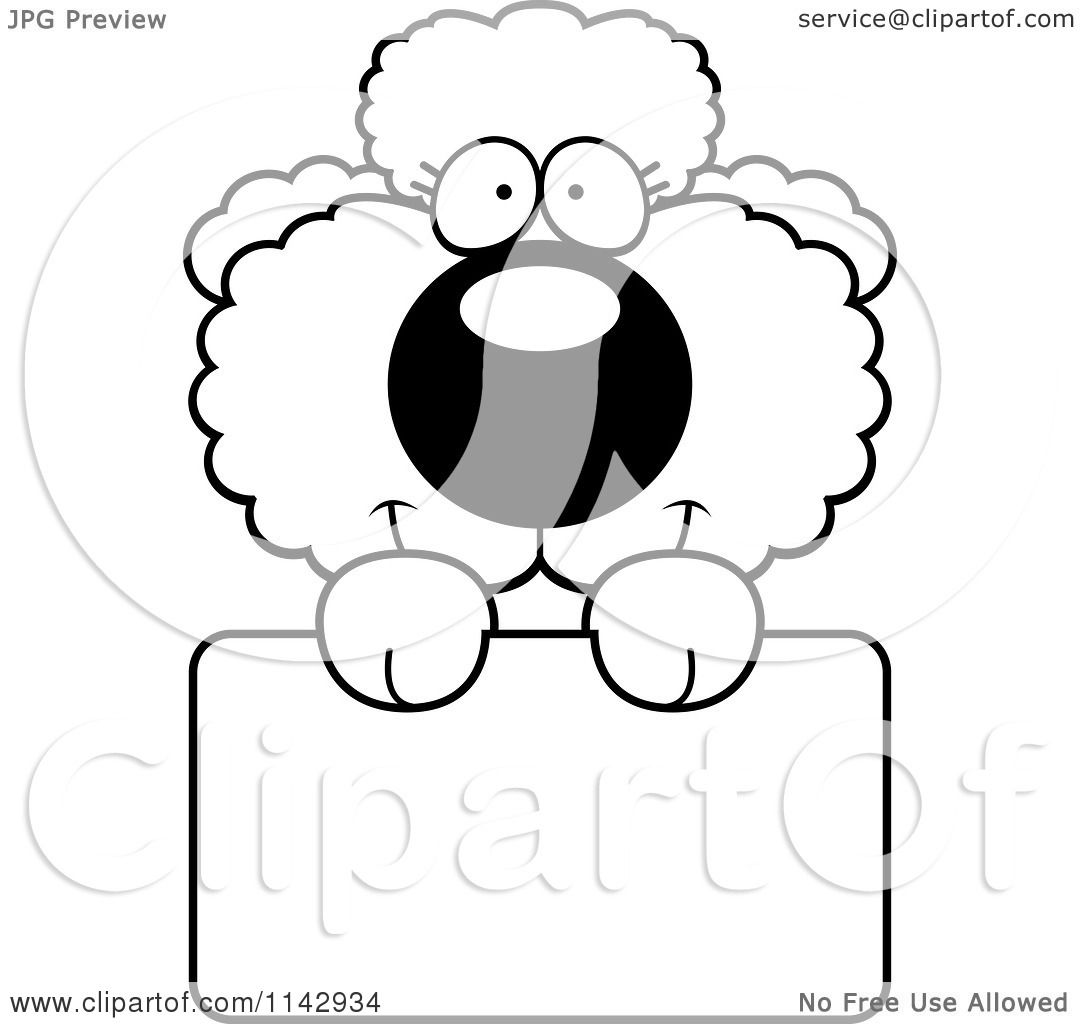 Cartoon Clipart Of A Black And White Cute Poodle Puppy