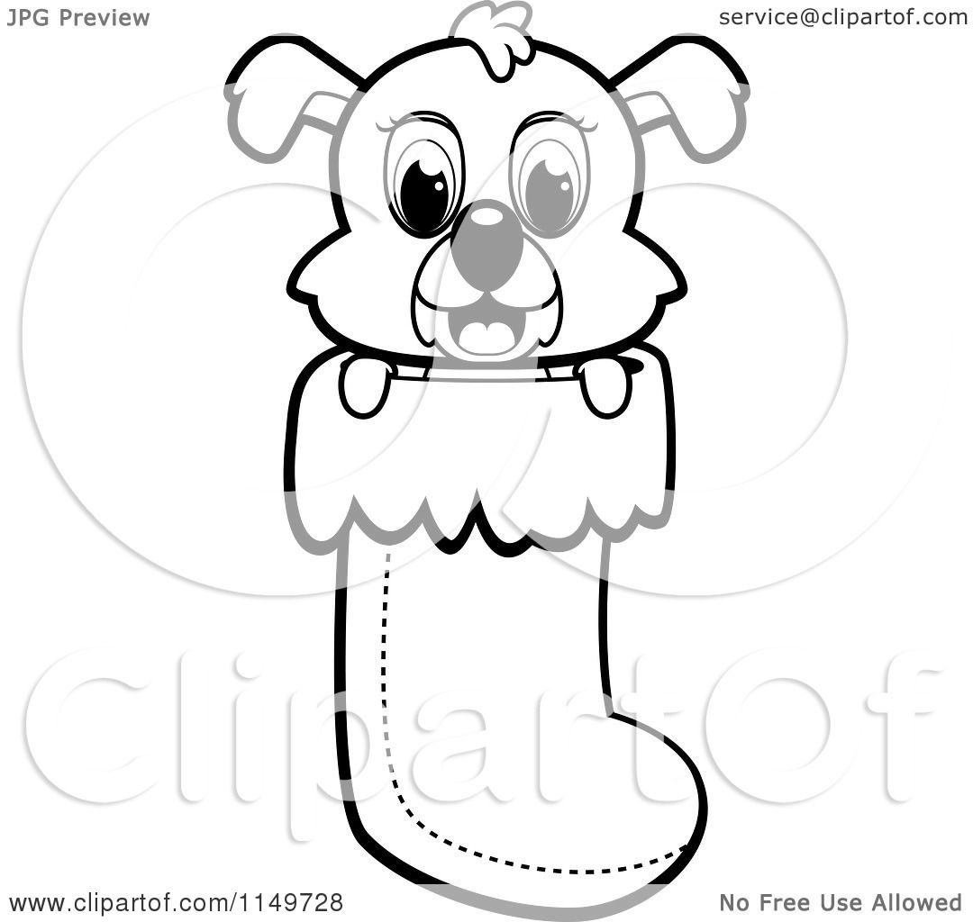 Cartoon Clipart Of A Black And White Cute Puppy Dog Peeping Out Of A Christmas Stocking