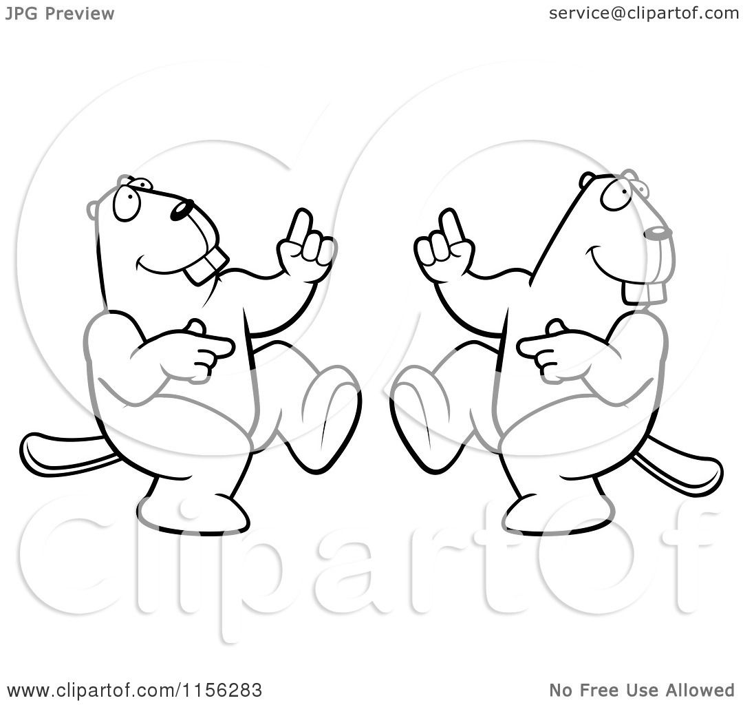 Cartoon Clipart Of A Black And White Dancing Beaver Couple