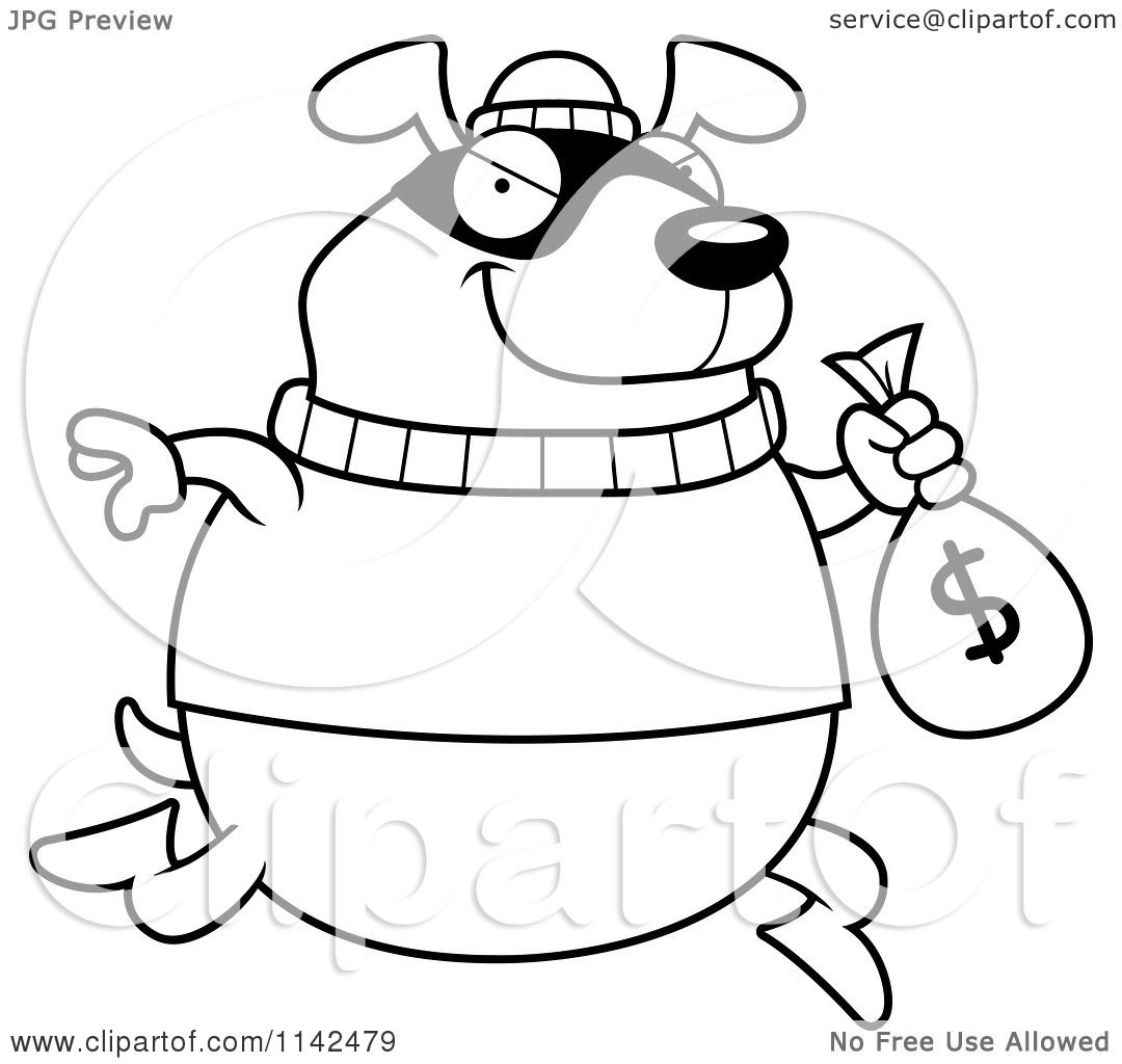 Cartoon Clipart Of A Black And White Dog Robbing A Bank