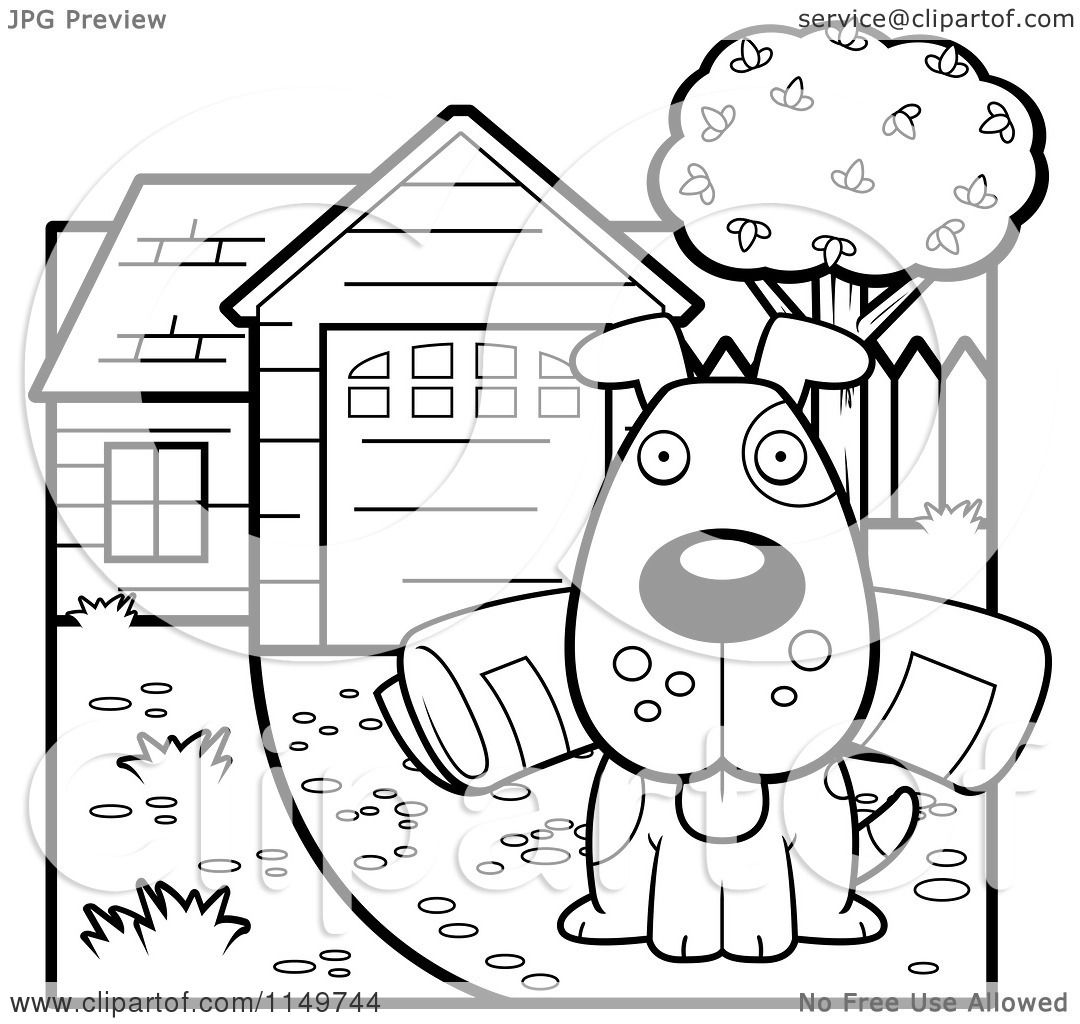 Cartoon Clipart Of A Black And White Dog Sitting In A Driveway With A Newspaper In His Mouth