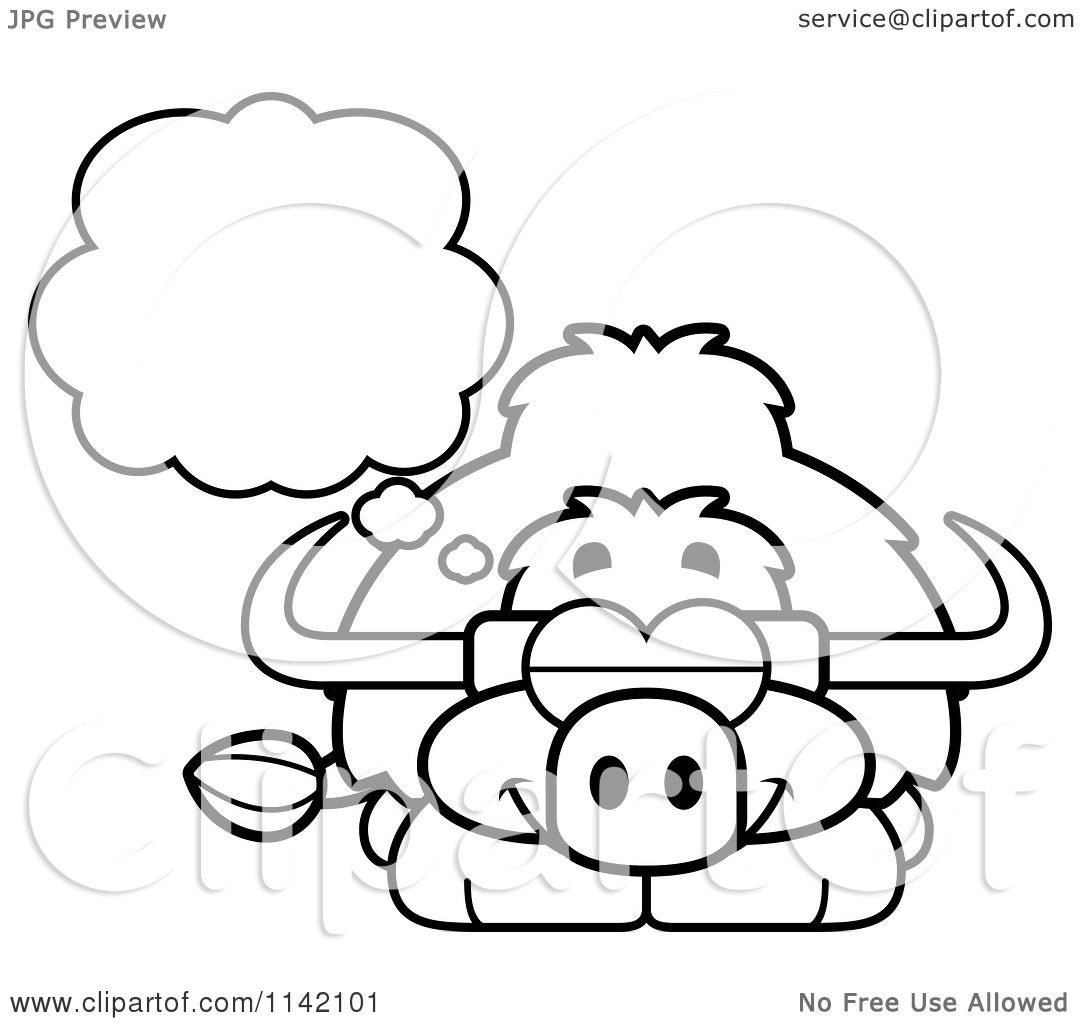 Cartoon Clipart Of A Black And White Dreaming Yak