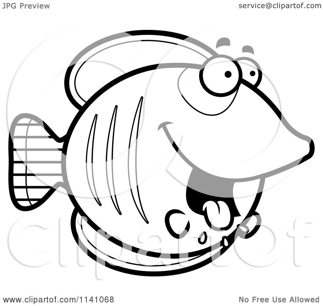 Cartoon Clipart Of A Black And White Drooling Hungry