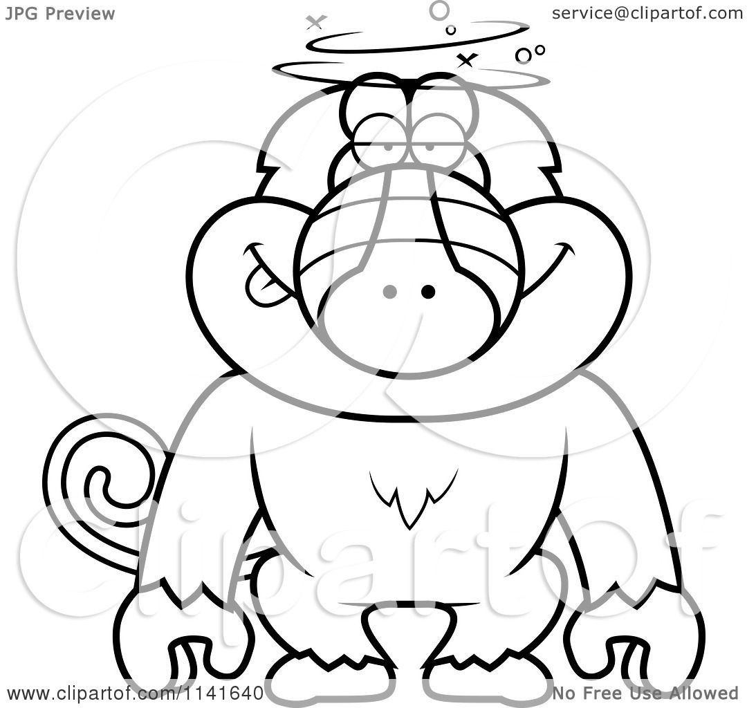 Cartoon Clipart Of A Black And White Dumb Or Drunk Baboon