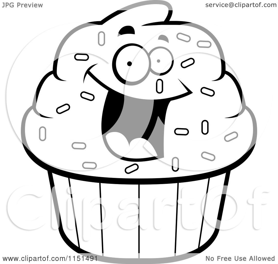 Cartoon Clipart Of A Black And White Excited Cupcake