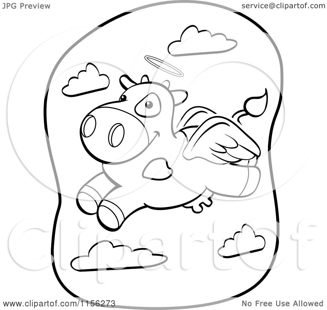 Cartoon Clipart Of A Black And White Flying Angel Cow