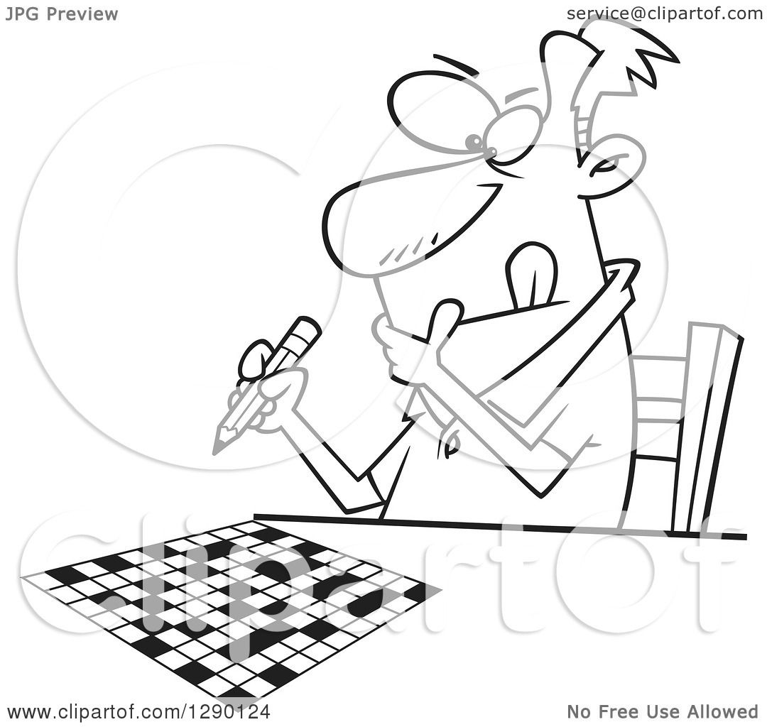 Cartoon Clipart Of A Black And White Focused Man Working
