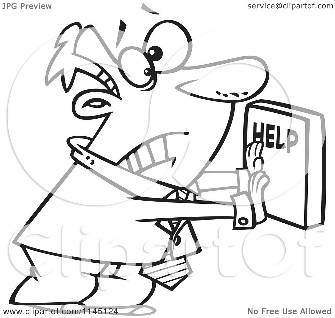 Cartoon Clipart Of A Black And White Frantic Businessman Pushing A Help Button