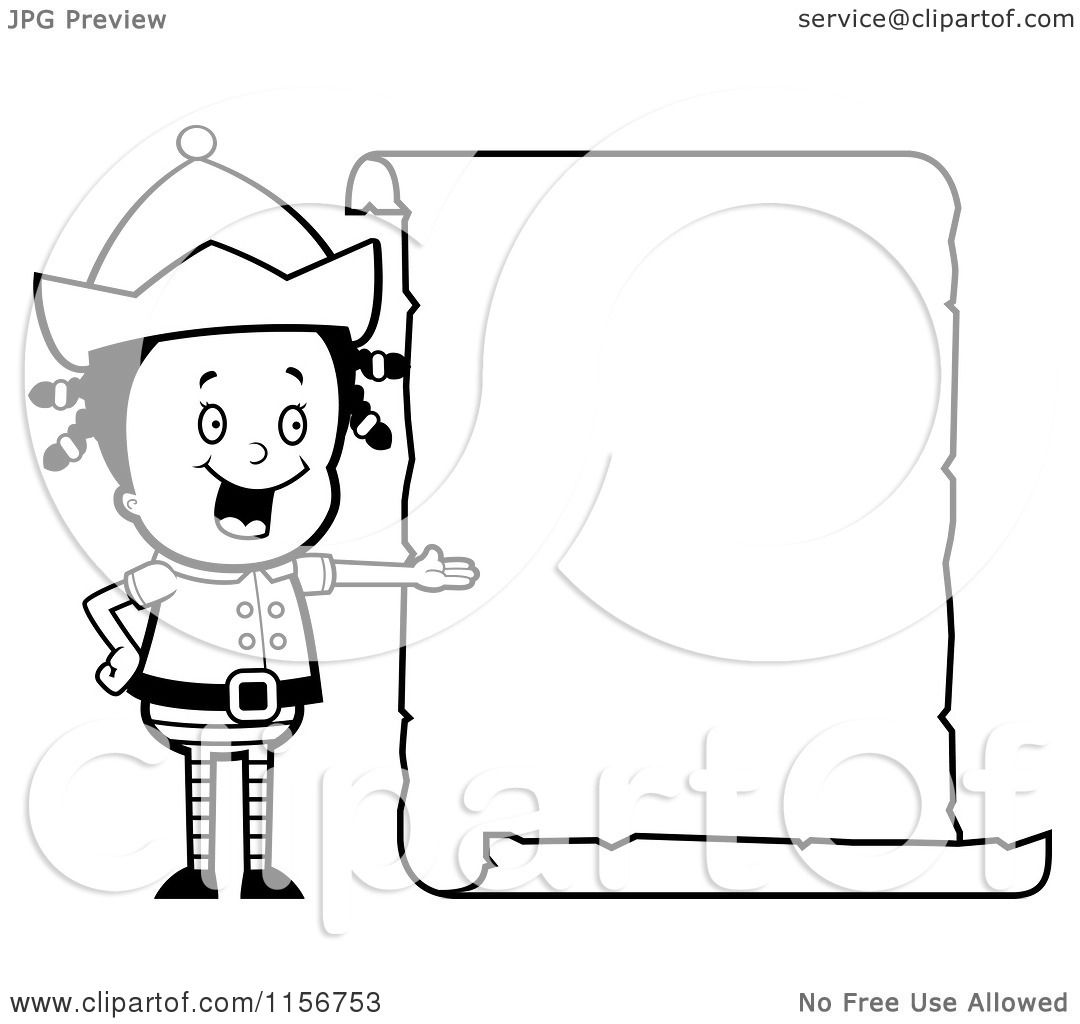 Cartoon Clipart Of A Black And White Girl Elf Presenting A Blank List