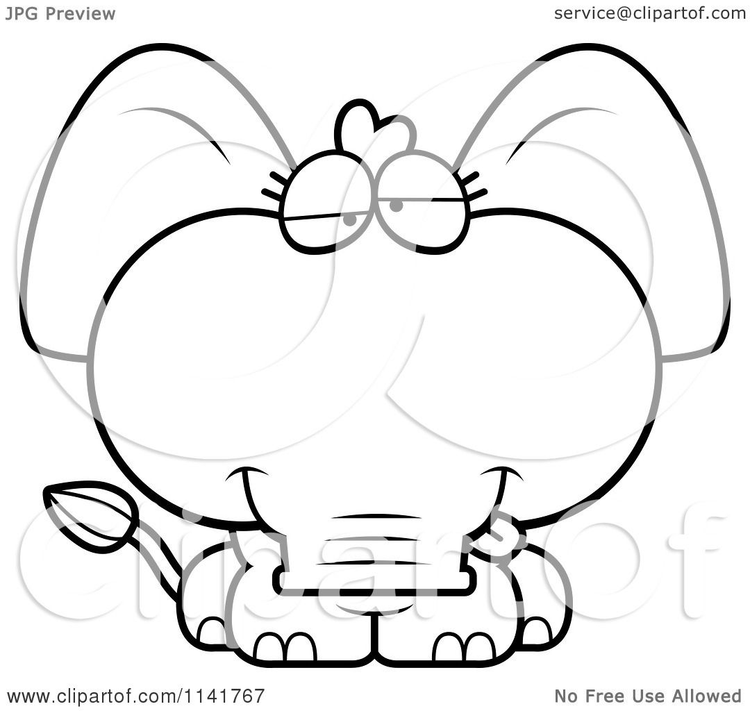 Cartoon Clipart Of A Black And White Goofy Baby Elephant