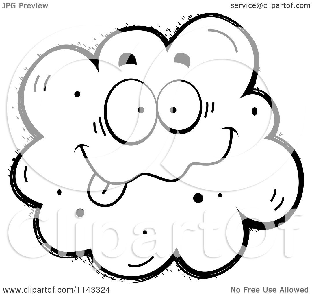 Cartoon Clipart Of A Black And White Goofy Fart Character