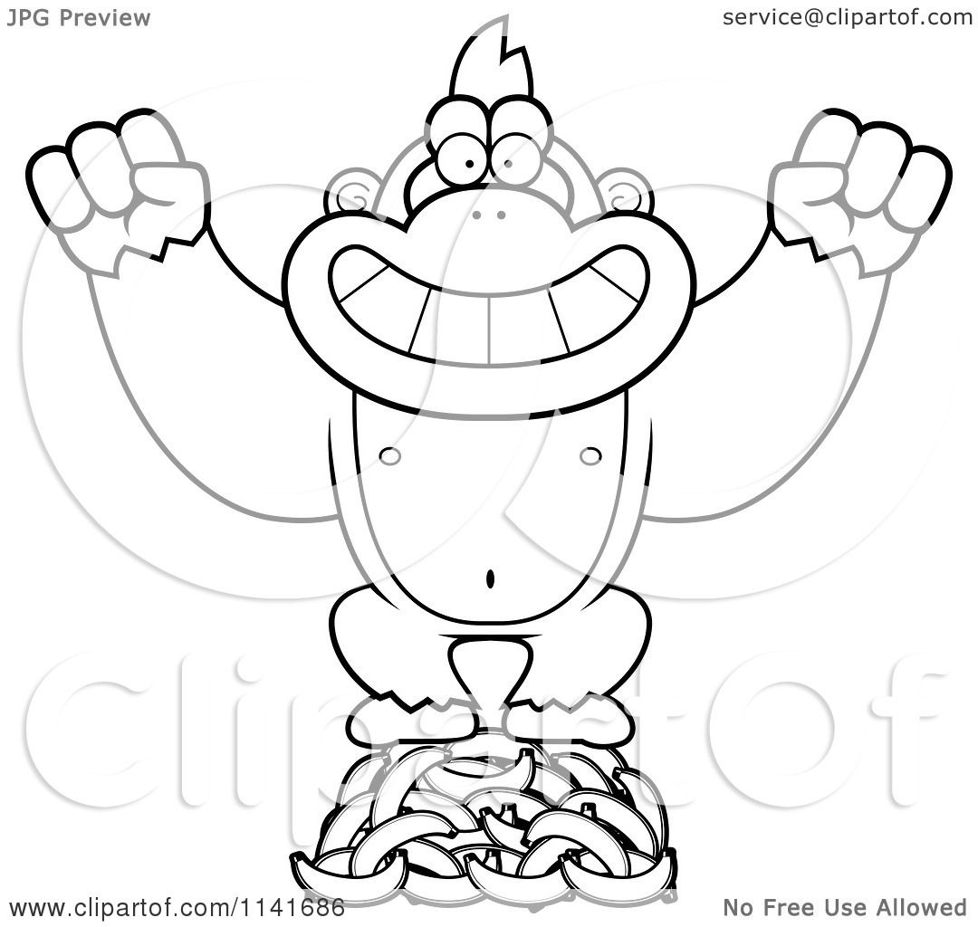 Cartoon Clipart Of A Black And White Gorilla Standing On