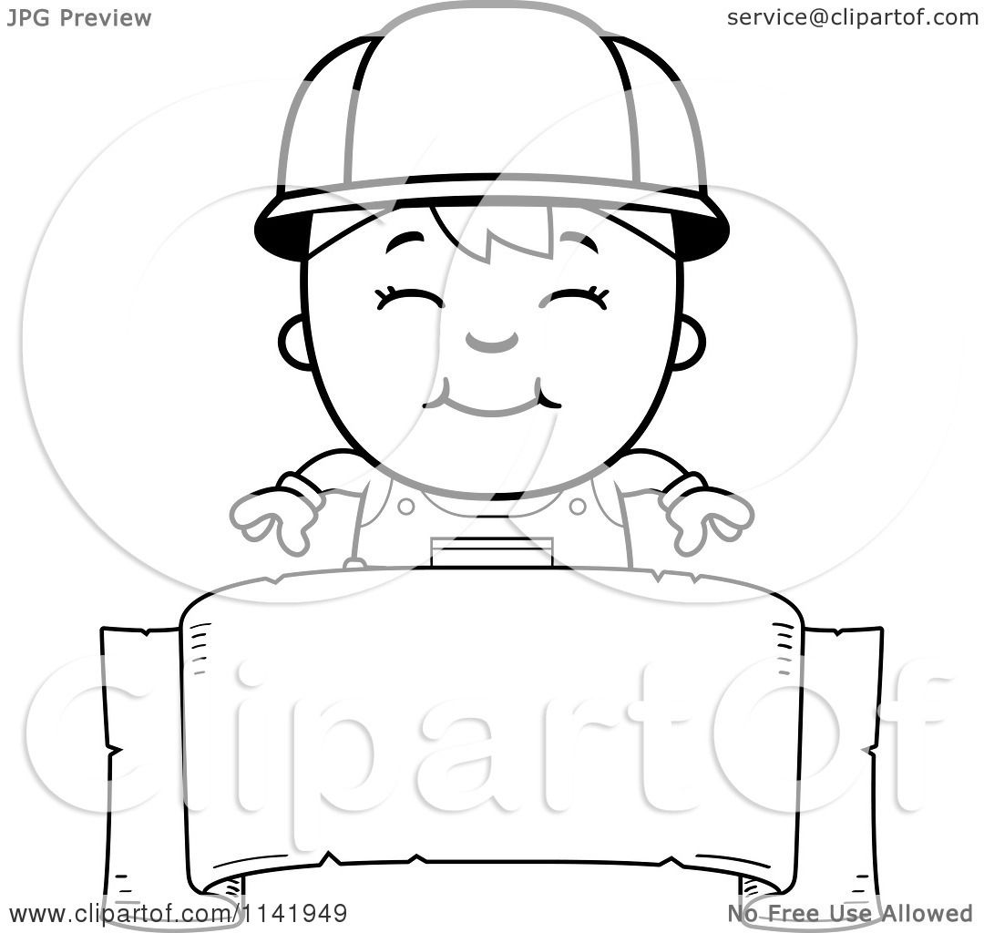 Cartoon Clipart Of A Black And White Handy Boy Over A Banner