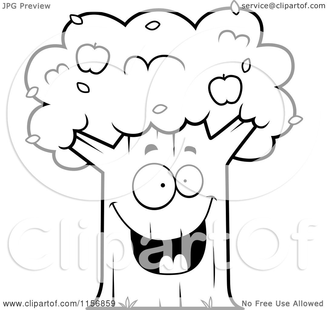Cartoon Clipart Of A Black And White Happy Apple Tree