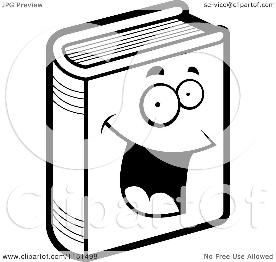Cartoon Clipart Of A Black And White Happy Book