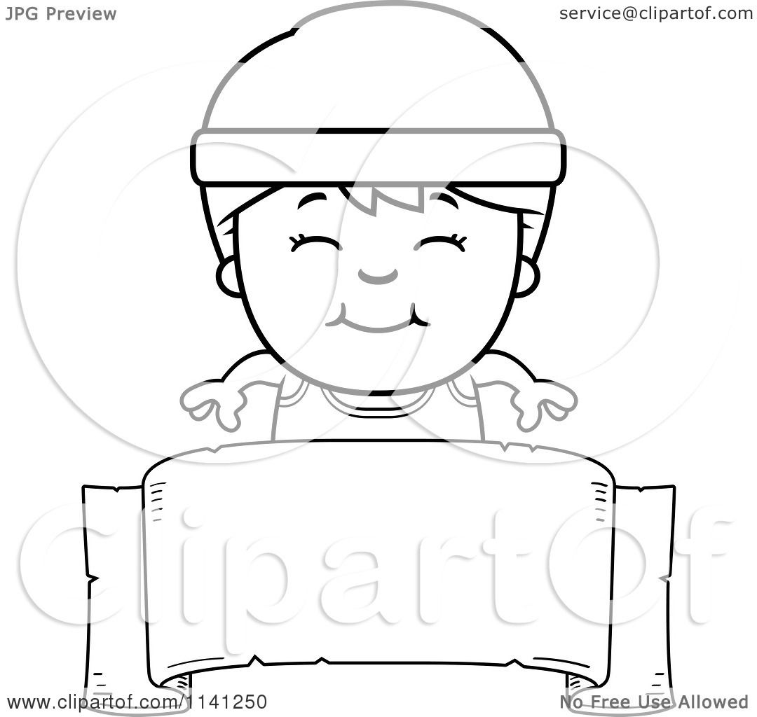 Cartoon Clipart Of A Black And White Happy Fitness Gym Boy