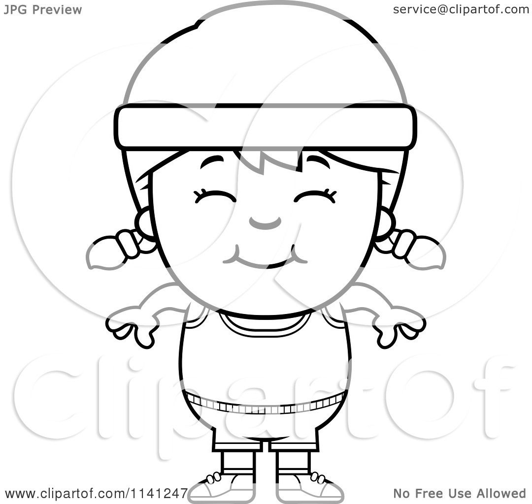 Cartoon Clipart Of A Black And White Happy Fitness Gym
