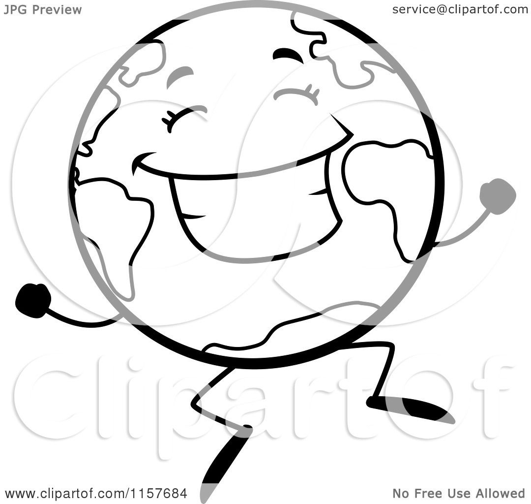 Cartoon Clipart Of A Black And White Happy Globe Character Jumping