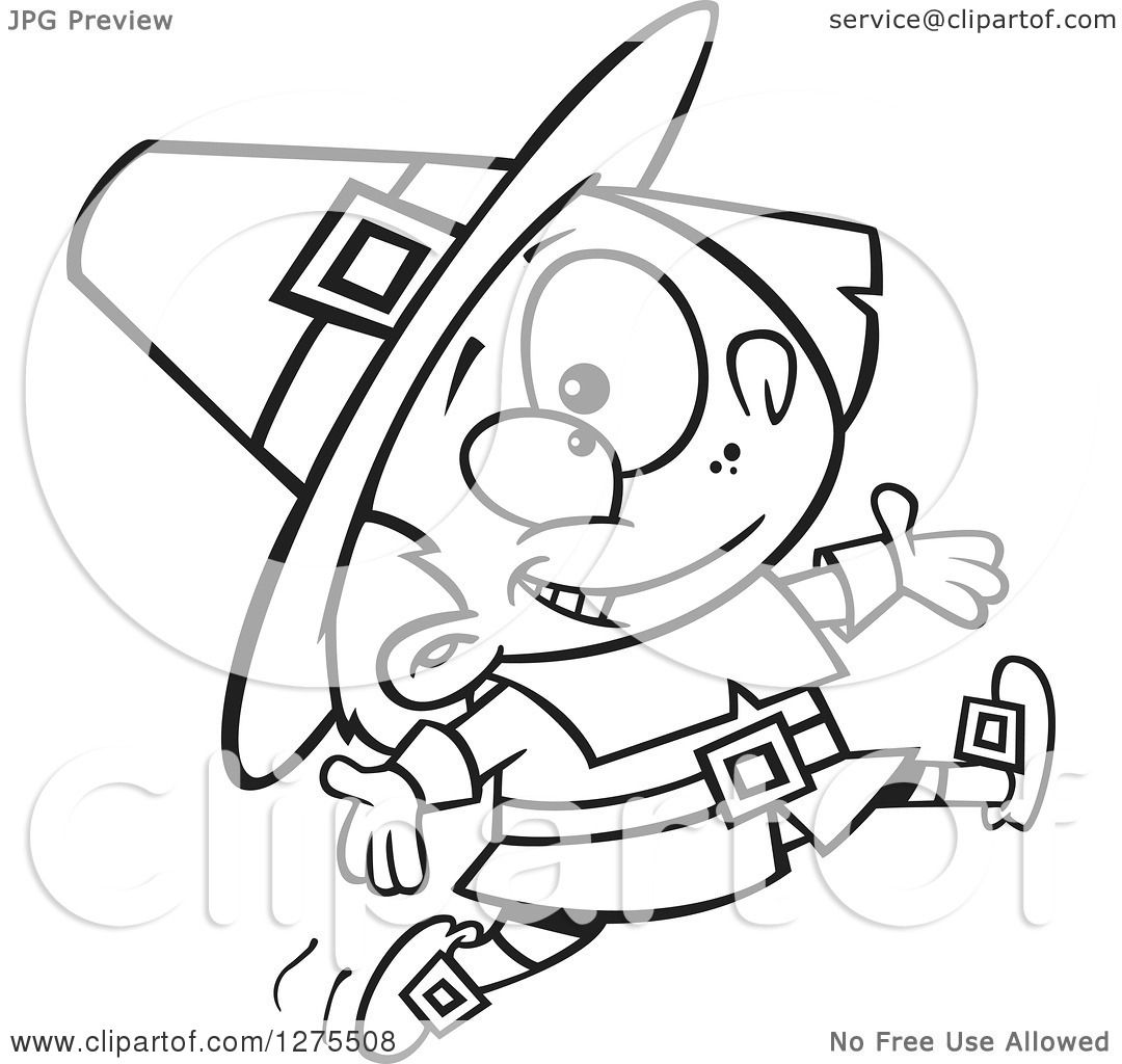 Cartoon Clipart Of A Black And White Happy Pilgrim Boy